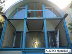 Menuiserie en aluminium TECHNAL, style atelier, coloris gris anthacite.
