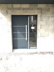Porte d'entrée aluminium FINSTRAL, porte d'entrée aluminium FINSTRAL avec tierce vitrée